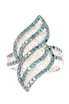 White & Blue Diamond Accent Ring