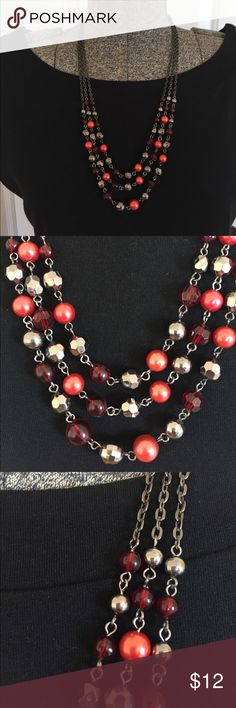 Red and silver layered necklace with bow Thanks so much for visiting my page if you have any questions please let me know! Jewelry Necklaces