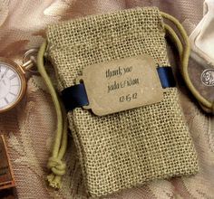 20 Burlap Wedding Favor Bags - Thank you - Personalized - Buckle. $40.00, via Etsy.