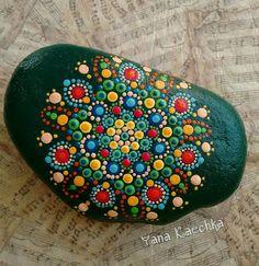 Original hand painted mandala stone, painted pebble, for home, office and studio decor, zen, meditation