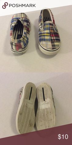 Sperry Madras Striper Slip Ons Adorable madras slip on shoes in excellent condition. Very minimal signs of wear! Sperry Top-Sider Shoes