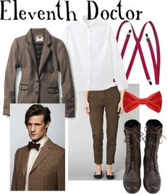 Eleventh Doctor for women  Muji striped shirt, $28Quiksilver jacket, $38Dorothy Perkins flat front khaki pants, $27Red Silk Poinsettia Red Pretied Bow Tie, $10Boots, $32Toptie™ Unisex Skinny Elastic Suspenders 3/4 Inch(2cm) Thin Solid, $6.29   And to my Anon, have fun meeting Alex Kingston! I hope this works alright for you :)