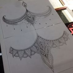 Got two sternum designs up for grabs $400-$450 each.. if your interested send me through a message thanks #tattoo #linework #dotwork #sketch #sternum #sternumtattoo #underboob #underboobtattoo #geometry #geometric #mandala #mandalas #henna #paisley #lace