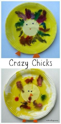 Crazy Chick Paper Plate Craft for Kids. Perfect for a preschool spring or Easter theme.
