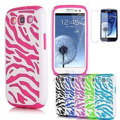 Film + Zebra Combo Hybrid Silicone Hard Case Cover For Samsung Galaxy S3 i9300