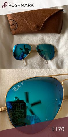 e472719ddad Polarized Aviator Ray Bans Barely worn. Perfect condition. Case included.  Ray-Ban Accessories Sunglasses