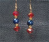 Red Swarovski rondelle and blue glass beads. Gold fish hook earrings. Price: $6.00