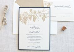 Winery Grapevine Themed Wedding Invitations. $5.00, via Etsy. Goes with your honeymoon