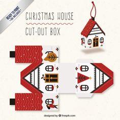 Christmas House Box I Free Vector