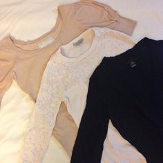 PRICE DROPKnit top bundle! Bundle of 3 knits: 1 cream top with puff sleeves (size S), 1 cream longsleeve knit top (size XS, h&m), 1 black knit top with deep overlap v-neck (size S). All used few times, in excellent condition :) Sweaters Crew & Scoop Necks