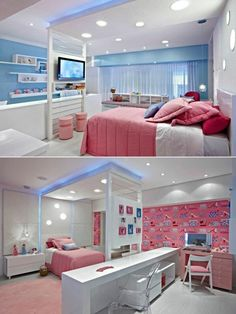idées pour la chambre d'ado fille couverture de lit en rose, meubles chic chambre ado fille