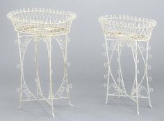 Shabby Chic White Wire Metal Plant Stands, Set of 2