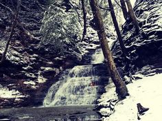 .....a fire burns inside the waterfall.... Chestnut Ridge WNY :)