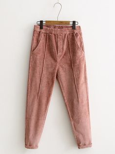 e5595bdefd [US$56.90] Casual Solid Color Pocket Elastic Waist Women Corduroy Pants  #casual #