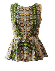 suakoko betty Green White Peplum Top #ankara fashion #hollandwaxprints