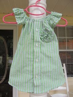 refashion men's shirt into little girl's dress