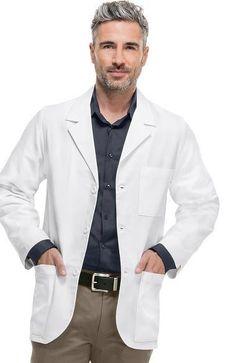 Medline Men/'s Lab Coat Premium Full Length Cotton Lab Coats White Knot Butt