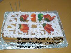 Receitas e Truques da Clarinha: Bolo de aniversário (cenoura, chantilly e morangos...