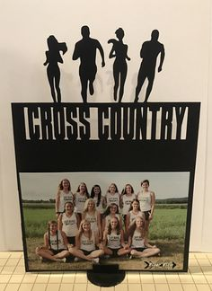 Cross Country & Track banquet ideas for decorations and gifts to runners DIY photo stand cut from Silhouette, base printed, double sided photos Running Form, Cross Country Running, Senior Gifts, Team Gifts, Metal Crafts, Diy Photo, Baby Shower Parties, Party Games, Birthday Party Themes