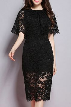 Lace Round Neck Solid Color Dress #CLICK! #clothing, #shoes, #jewelry, #women, #men