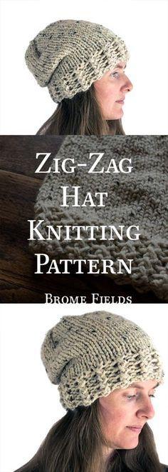 321a47fd0972 Zig-Zag-Brim Hat Knitting Pattern Πλέξιμο Σε Αργαλειό