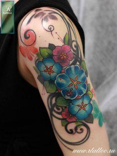 Tattoo Roman Migura - tattoo's photo In the style New School, Flowe Shoulder Tattoo, Tattoo Photos, Girl Tattoos, Roman, Flowers, Russia, School, Style, Swag