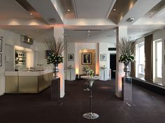 BAFTA 195 London Event Venue - the Foyer Bar with white flowers by @hayfordrhodes for an afternoon reception