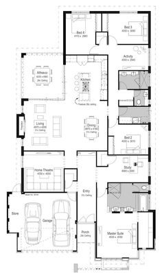 Looking for affordable luxury display homes in Perth? Best House Plans, Dream House Plans, Modern House Plans, House Floor Plans, Circle House, Plans Architecture, 4 Bedroom House Plans, Home Design Floor Plans, House Map