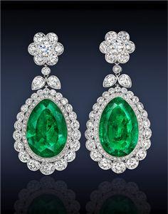 Emerald and Diamond Earrings by Jacob & Co.