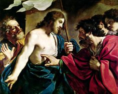 GUERCINO, 1591 - 1666: The Incredulity of St Thomas. Oil on canvas, 115 x 140.