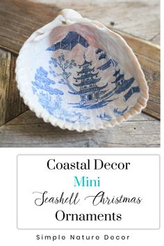 Learn to decoupage seashell ornaments. See tutorial at the blog. #seashell #christmasornaments #ornaments Homemade Christmas, Holiday Crafts, Home Crafts, Christmas Crafts, Christmas Decorations, Diy Crafts, Easy Crafts To Make, Crafts For Kids, Seashell Christmas Ornaments
