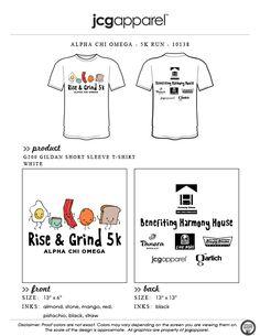 JCG Apparel : Custom Printed Apparel : Alpha Chi Omega 5K Run T-Shirt #alphachiomega #riseandgrind #5k #breakfast #handdrawn #bacon #eggs #toast #coffee #mostimportantmealoftheday