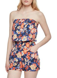 Strapless Romper in Floral Print - NAVY - 0045038345302