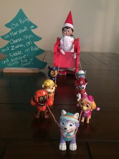 #elfontheshelf The Paw Patrol pups were recruited to help pull Murray Christmas the elf and his new sled!