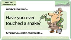 English Conversation Question 91 *** Have you ever touched a snake? How did it feel? *** Let us know in the comments English Today, Learn English, Conversation Questions, Esl, Snake, Family Guy, Study, Let It Be, Activities