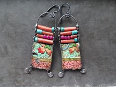 Turquoise coral quartz and grungy vintage tin beaded earrings. Oxidized, waxed & buffed. Double sided tin.  Niobium ear wires.  2 5/8 inches.