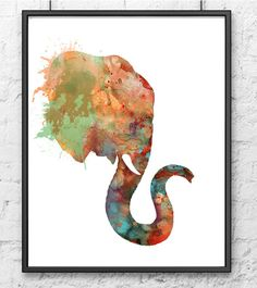 Elephant Watercolor Art print - Animal Painting Print    This is a high quality giclee reproduction of my original watercolor painting.  Printed on