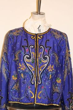 Vintage Embellished Trophy Jacket, Sequins,Beads  Rock jacket purple Leslie Fay