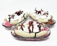Banana Split Casserole Dessert RECIPE | Etsy Fudge Ice Cream, Mint Chip Ice Cream, Ice Cream Cookie Sandwich, Ice Cream Cookies, The Banana Splits, Shot Glass Desserts, Dessert Shots, Parfait Desserts, Strawberry Desserts