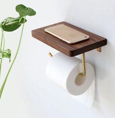 Paper Roll Holders, Toilet Paper Roll Holder, Bathroom Toilet Paper Holders, Toilet Roll Holder With Shelf, Bathroom Rack, Wooden Bathroom, Toilet Paper Storage, Paper Towel Holder, Clever Bathroom Storage