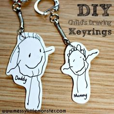 DIY Shrinky Dinks Keyring using a child's first drawings. This keychain makes a memorable keepsake or simple kid made gift for Mothers day, Fathers day, Christmas or a Birthday.