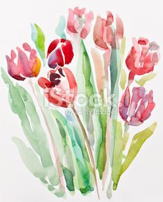Tulips, watercolor painting Royalty Free Stock Photo