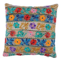 Multicolor velvet throw pillow with a floral stripe motif.   Product: Pillow  Construction Material: Velvet
