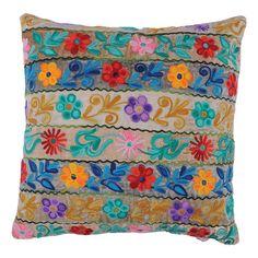 Multicolor velvet throw pillow with a floral stripe motif.   Product: Pillow  Construction Material: Velvet