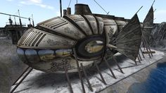 The _Nautilus_ in dry dock | Part of a steampunk tribute to Jules Verne in Second Life | Very un-Disney, but also quite unsuited to ramming ships! #nautilus