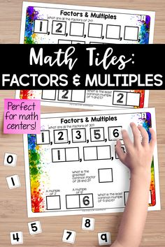 This is the perfect math center to help reinforce the understanding of factors and multiples. Students must place 10 number tiles on the math tile cards to find factors, greatest common factors, multiples, and least common multiples. Teaching Fractions, Teaching Math, Teaching Tips, Activity Centers, Math Centers, Math Resources, Math Activities, Finding Factors, Least Common Multiple