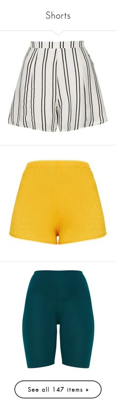 """Shorts"" by isthelastofus ❤ liked on Polyvore featuring shorts, high-rise shorts, stripe shorts, striped high waisted shorts, high waisted pleated shorts, high rise shorts, high-waisted shorts, mustard shorts, highwaist shorts and bottoms"