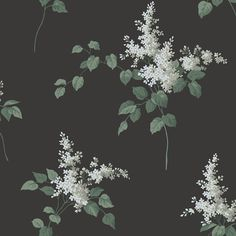 Lilacs White and Black wallpaper by Boråstapeter double roll wallpaper direct beautiful Flowery Wallpaper, Wallpaper Uk, Black Wallpaper, Designer Wallpaper, Pattern Wallpaper, Matte Black Background, Meadow Flowers, Arts And Crafts Movement, Scandinavian Design