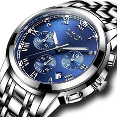 Men Luxury Brand LIGE Full Steel Chronograph Sports Watch Blue Color by podoqo