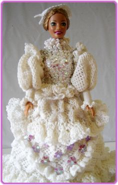 Barbie Clothes White Dress With Hat Crocheted Handmade